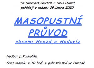Masopustní průvod obcemi Hodoviz a Hvozd