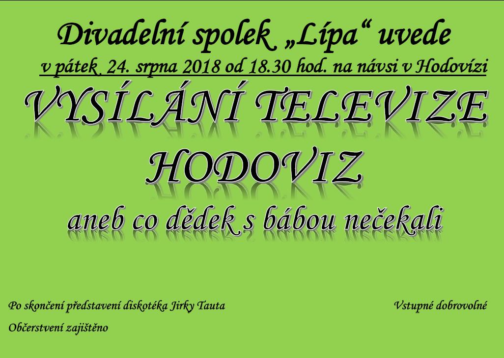 """Divadelní představení - """"Vysílání televize Hodoviz aneb co dědek s bábou nečekali"""""""